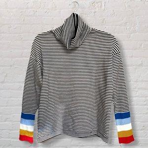 SHEIN Striped Turtleneck Sweater Rainbow Cuffs